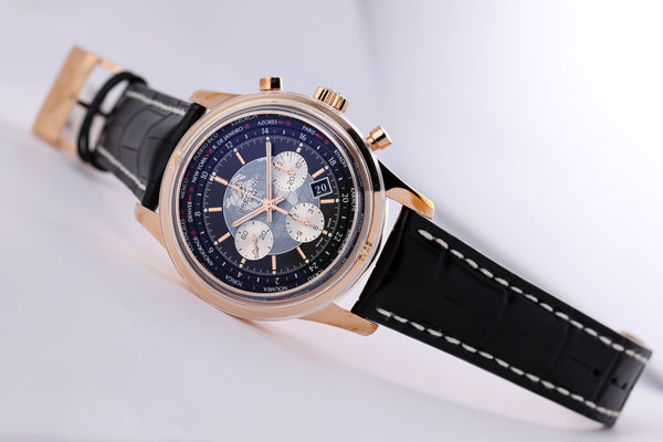 Breitling Transocean Chronograph Unitime 18kt Gold Black - The Luxury Well