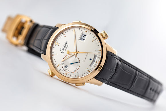 Glashütte Original Senator Diary 18kt Rose Gold Silver Dial - The Luxury Well
