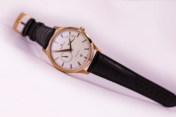 Zenith Elite Captain Power Reserve 18kt Rose Gold Silver Dial - The Luxury Well