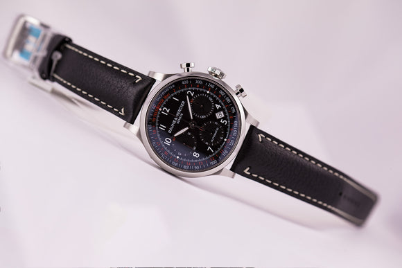 Baume & Mercier Capeland Automatic Chronograph Black Dial Black Calf Strap - The Luxury Well