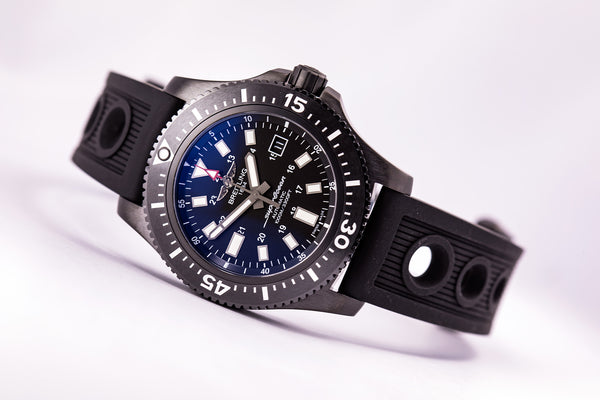Breitling Superocean 44 Special Black Steel, Ocean Racer with Folding Buckle - The Luxury Well