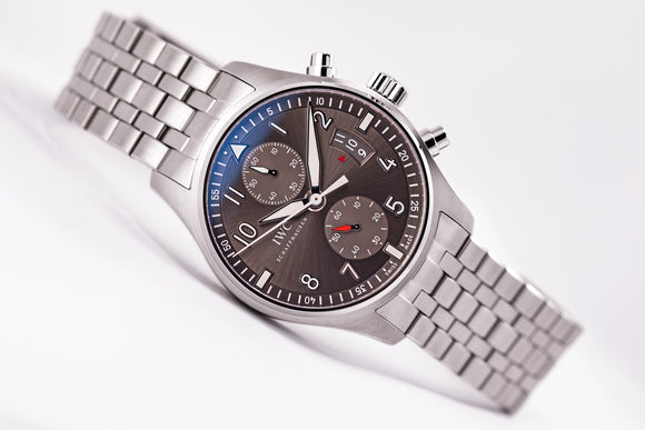 IWC Pilot Spitfire Chronograph Ardoise Dial Steel Bracelet - The Luxury Well
