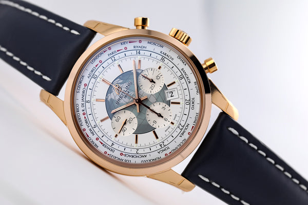 Breitling Transocean Chronograph Unitime 18kt Gold Silver - The Luxury Well