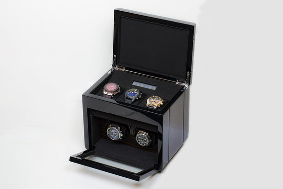 The Luxury Well Touch Screen Control Double Watch Winder with 3-watch Storage - The Luxury Well