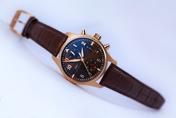 IWC Pilot Spitfire Chronograph 18kt Gold/Brown - The Luxury Well