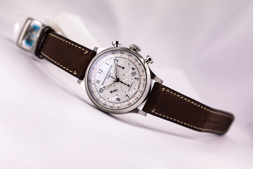 Baume & Mercier Capeland Automatic Chronograph Silver Dial Brown Calf Strap