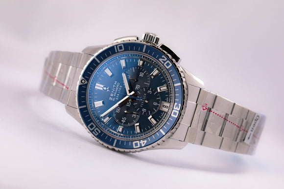 Zenith El Primero Stratos Flyback Chronograph Blue Dial Bracelet - The Luxury Well