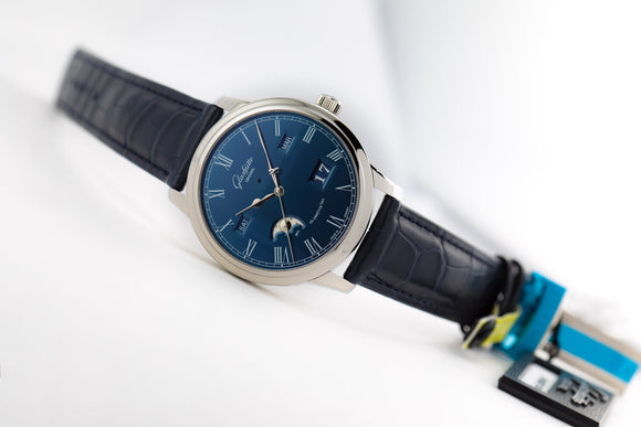 Glashütte Original Senator Perpetual Calendar Steel Blue Dial - The Luxury Well