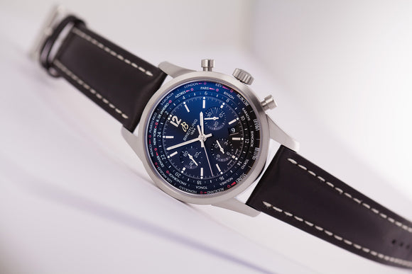 Breitling Transocean Unitime Pilot Worldtimer Chronograph Black Dial Alligator - The Luxury Well