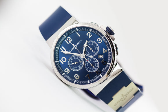 Ulysse Nardin Marine Chronograph Blue Metal Dial Ref. 1503-150-3-63 - The Luxury Well