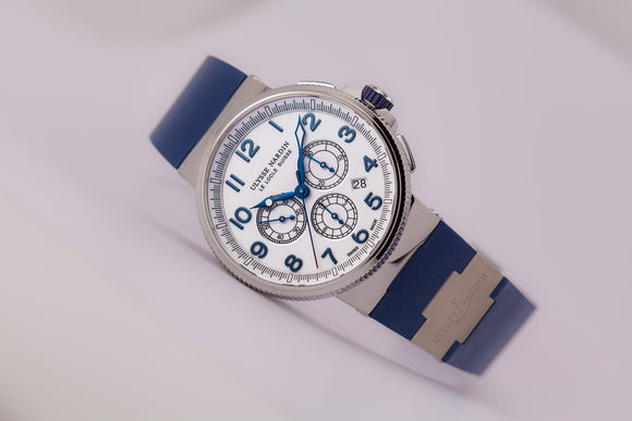 Ulysse Nardin Marine Chronograph White Dial Ref. 1503-150-3-60 - The Luxury Well