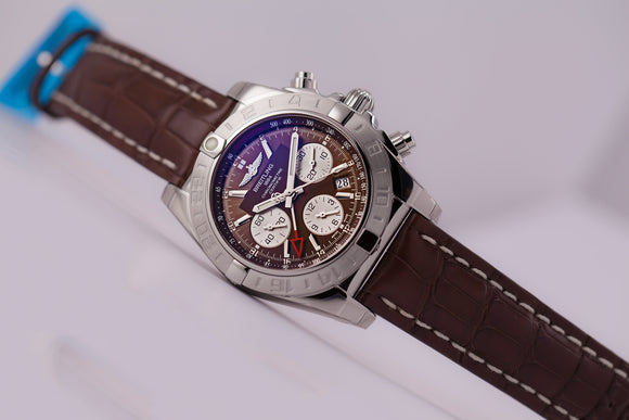 Breitling Chronomat 44 GMT Steel Brown Dial Alligator Strap - The Luxury Well