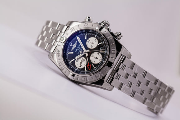 Breitling Chronomat 44 GMT Stainless Steel Black Dial - The Luxury Well
