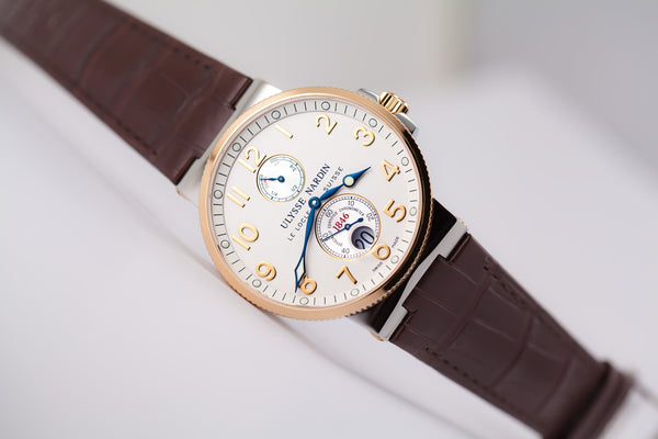 Ulysse Nardin Maxi Marine Chronometer two-tone 18kt gold and steel silver Ref. 265-66/60 - The Luxury Well