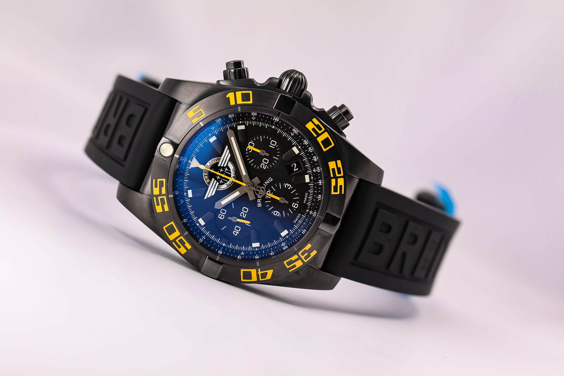 Breitling Chronomat 44 Black Jet Team Limited Edition, Ref.  MB01109P/BD48 Rubber Pro III Strap and Black Micro Adjustment Folding Buckle