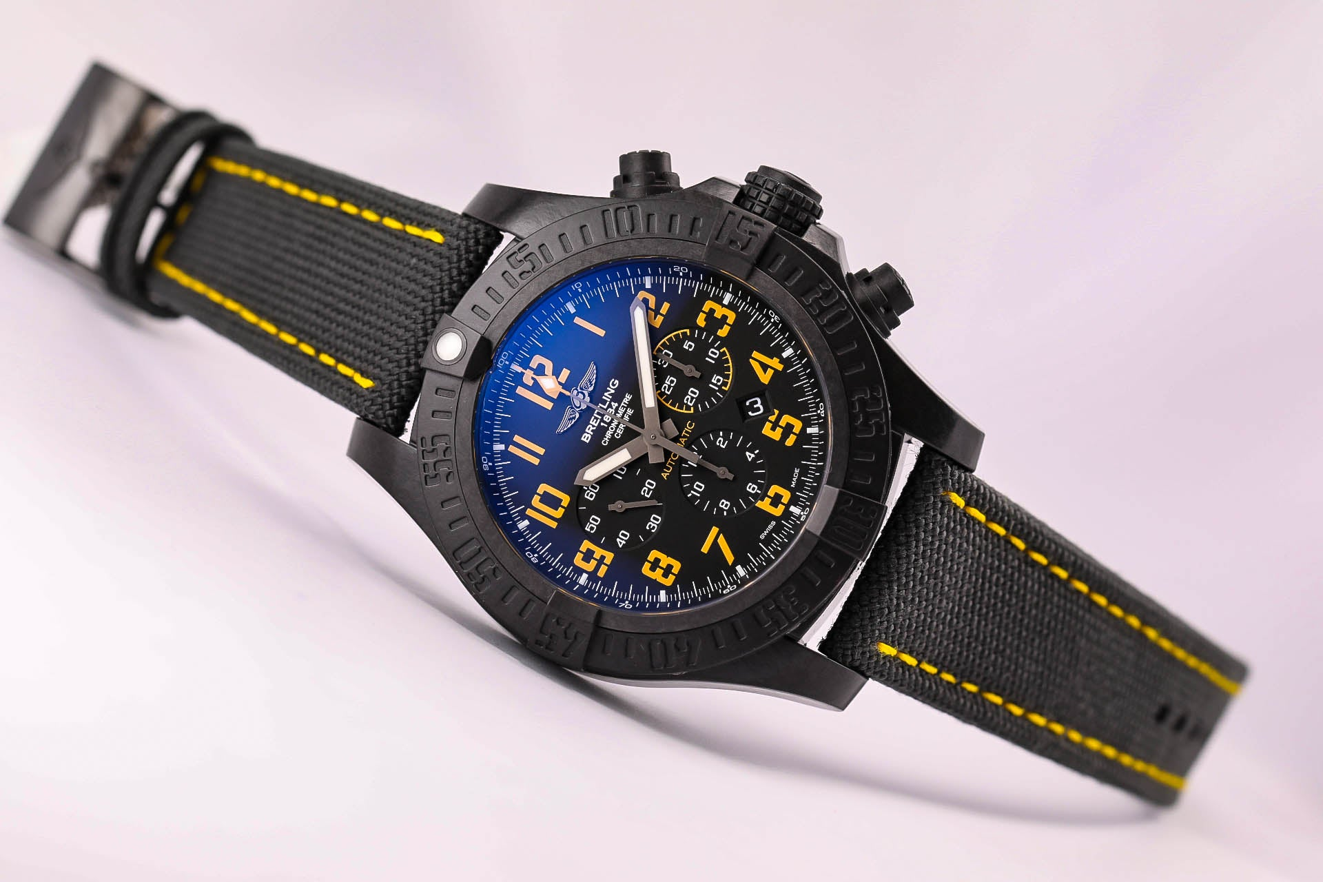 Breitling Avenger Hurricane Military Limited Edition, Ref.  XB01701A/BF92 Military Fabric and Rubber strap with Military Tang Buckle