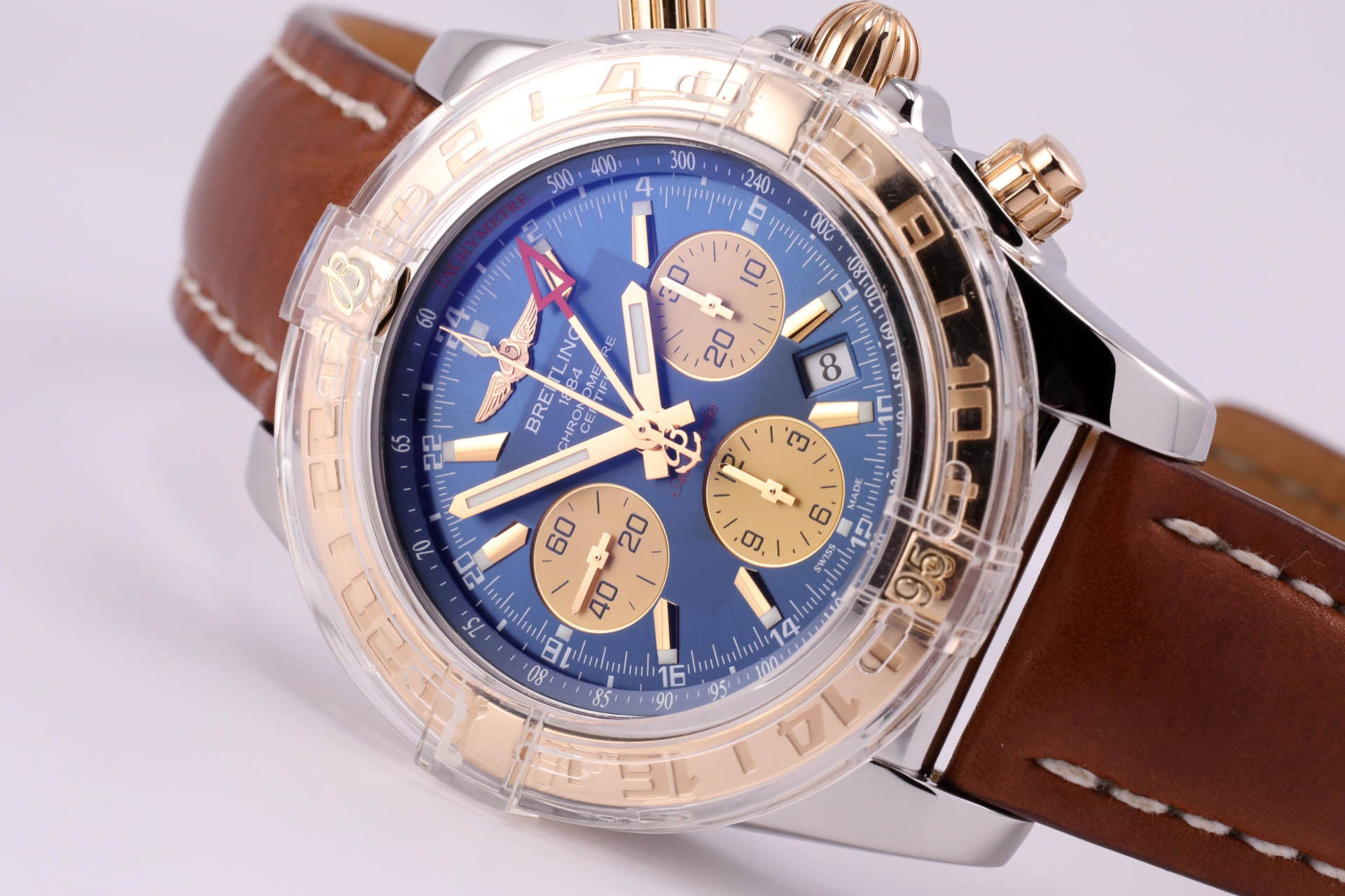 Factory refurbished Breitling Chronomat 44 GMT 18kt gold/SS Blue Dial with Extra Strap/Buckle