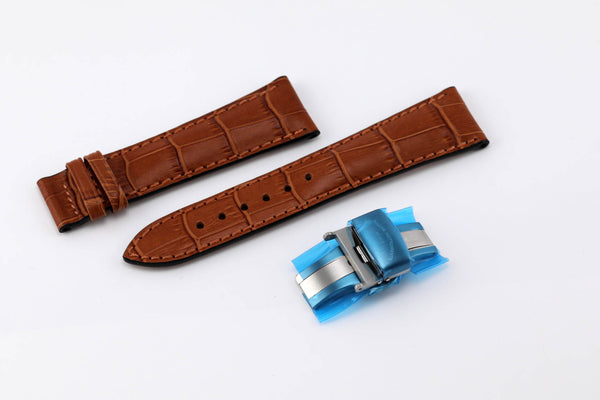 Mühle Glashütte Calf Strap with Alligator Print and Double Folding Buckle for M1-33-82-LB - The Luxury Well