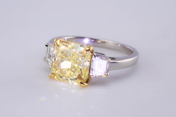 Original Tiffany Design 3.68ct Fancy Yellow Platinum Diamond Ring GIA CERTIFIED - The Luxury Well