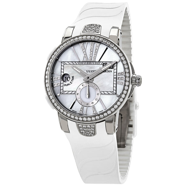 Ulysse Nardin Executive Dual Time Ladies Watch Mother of Pearl Dial 40mm - The Luxury Well