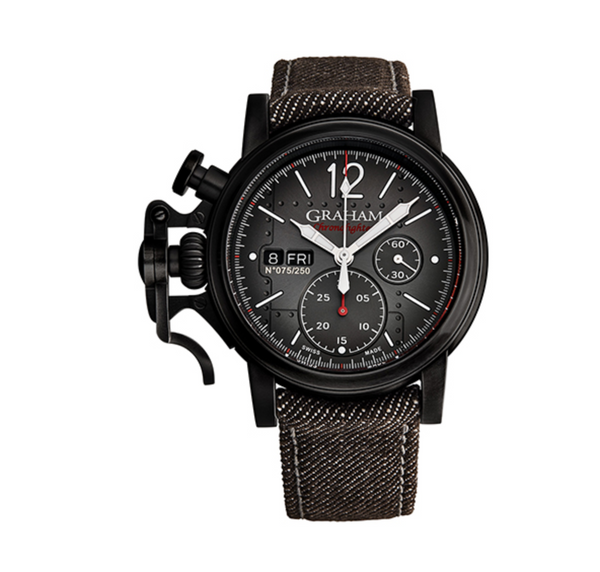 Graham Chronofighter Vintage Aircraft Black riveted dial - The Luxury Well