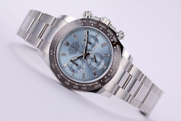 Rolex Cosmograph Daytona Ceramic Platinum Iceblue Baguette Diamond - The Luxury Well