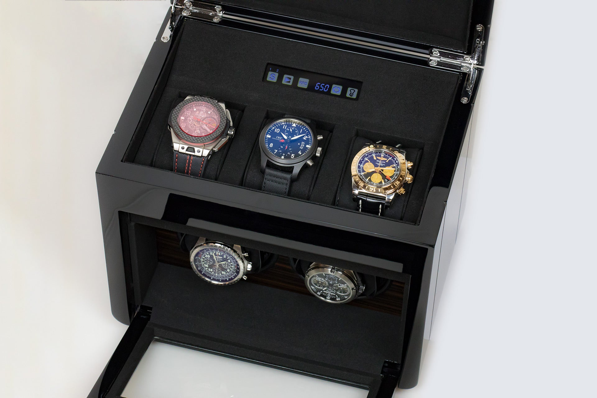 The Luxury Well Touch Screen Control Double Watch Winder with 3-watch Storage