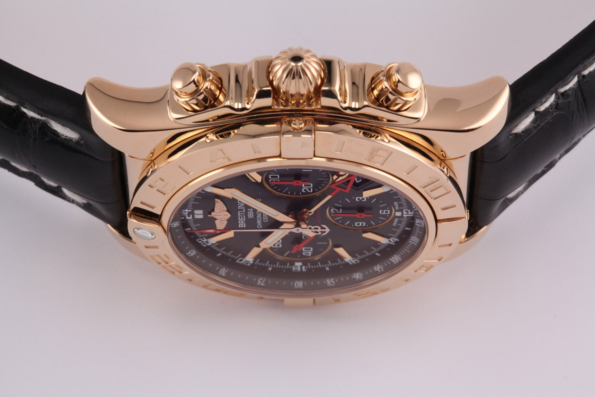 Breitling Limited Edition 18kt Chronomat 44 GMT Black with Alligator