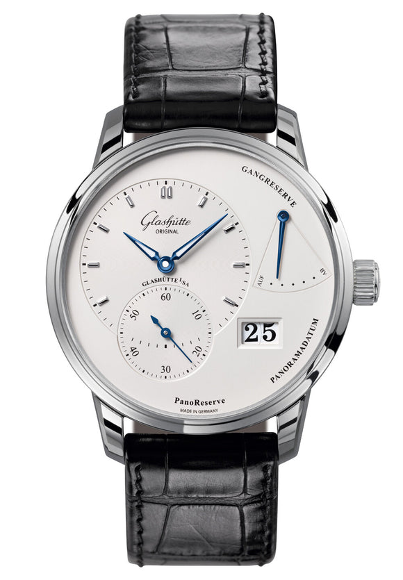 Glashütte Original PanoReserve Steel Silver Dial - The Luxury Well