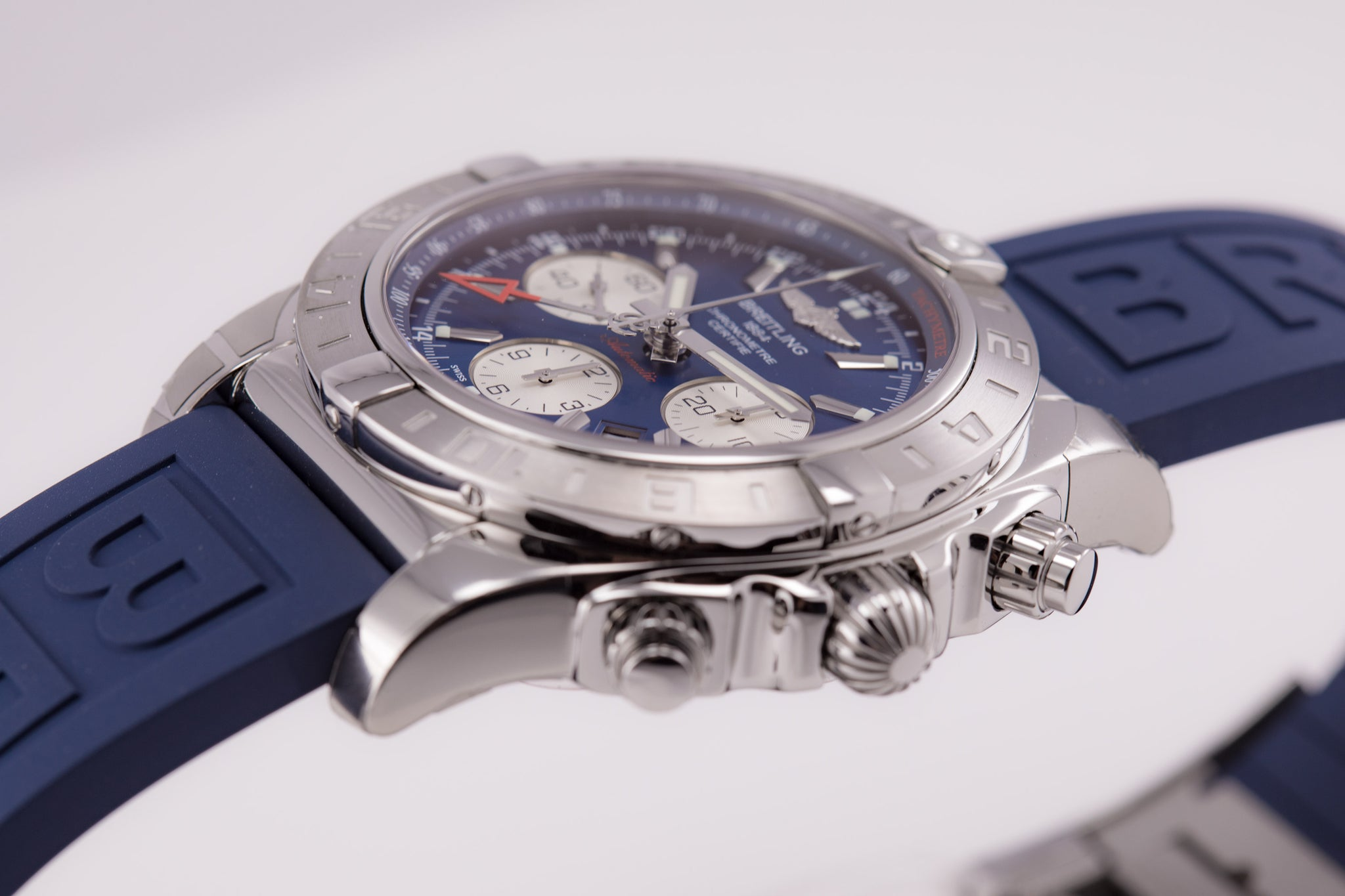Breitling Chronomat 44 GMT Blue Dial on blue Diver Pro III