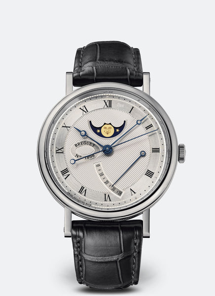 Breguet Classique 7787 Moonphase 18kt White Gold Silvered Gold Dial - The Luxury Well