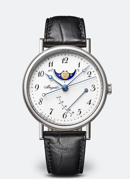 Breguet Classique 7787 Moonphase 18kt White Gold White Dial - The Luxury Well