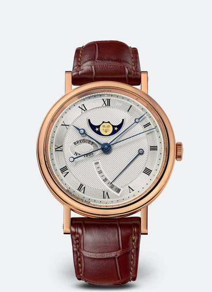 Breguet Classique 7787 Moonphase 18kt Rose Gold Silvered Gold Dial - The Luxury Well