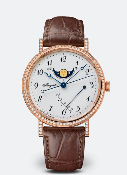 Breguet Classique Moonphase Power Reserve 18kt Rose Gold White Dial - The Luxury Well