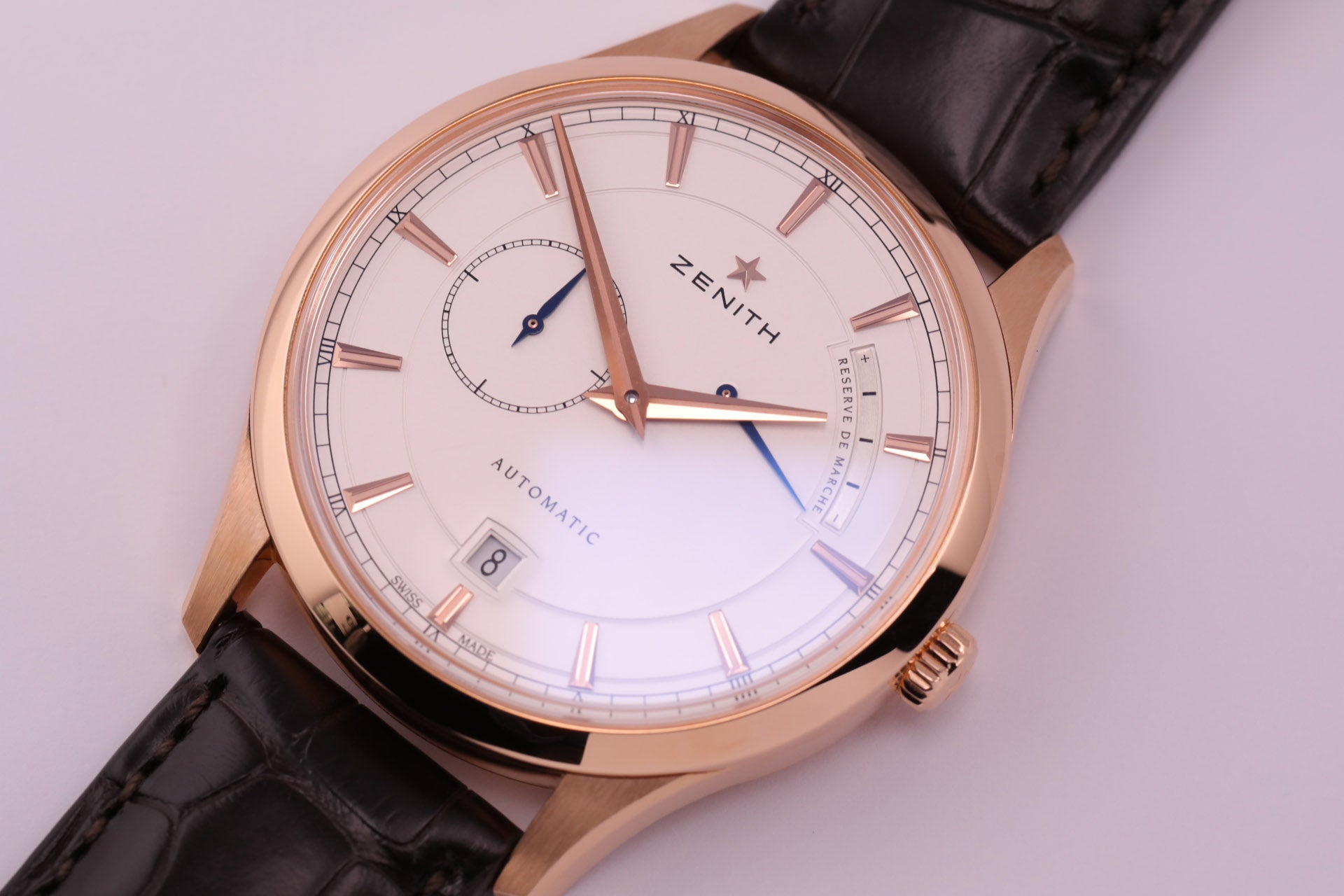 Zenith Elite Captain Power Reserve 18kt Rose Gold Silver Dial