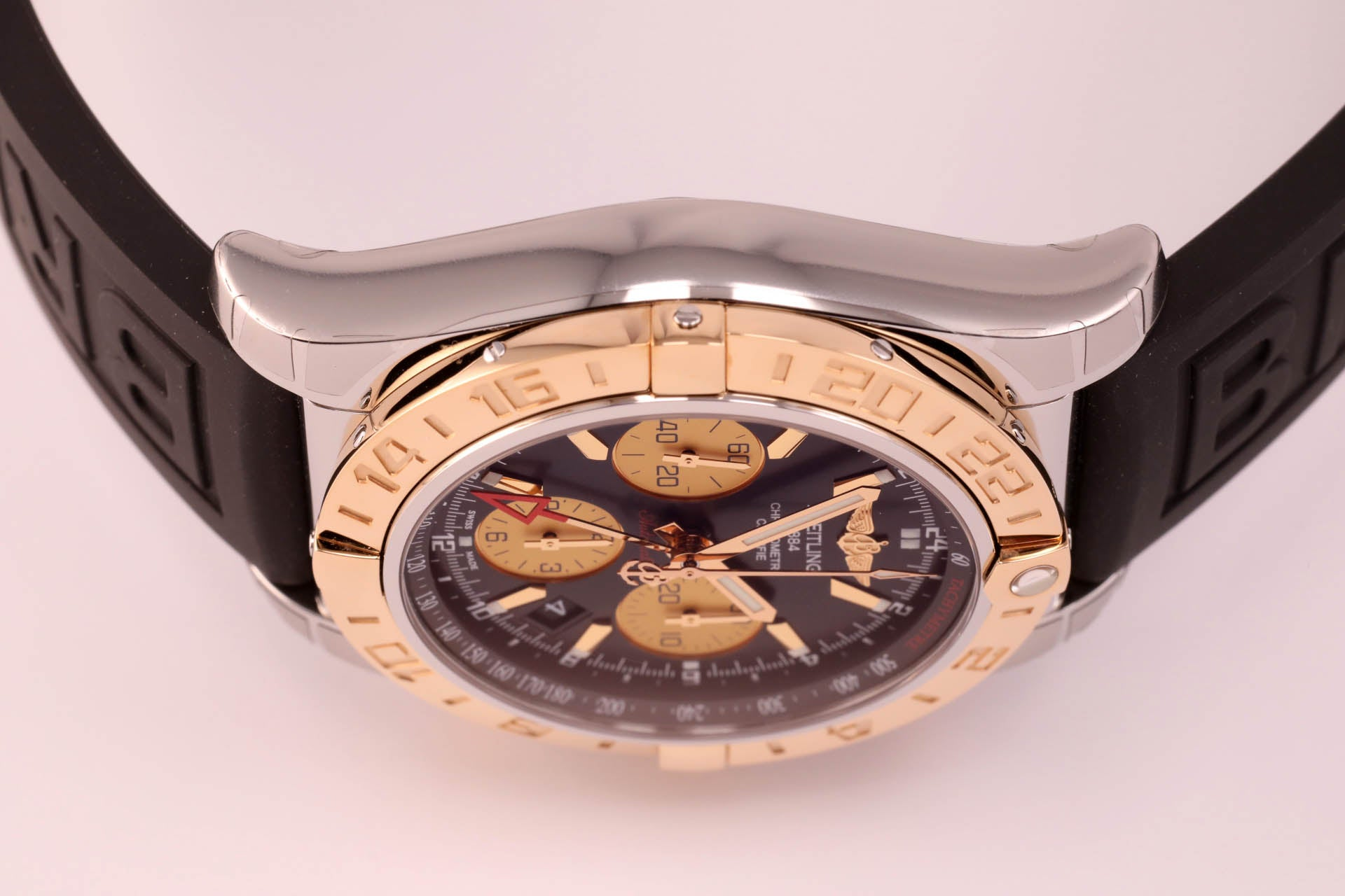 Breitling Chronomat 44 GMT 18kt gold/SS Black Dial, Ref. CB042012|BB86 on Diver Pro III Strap with Micro Adjustment Folding Buckle