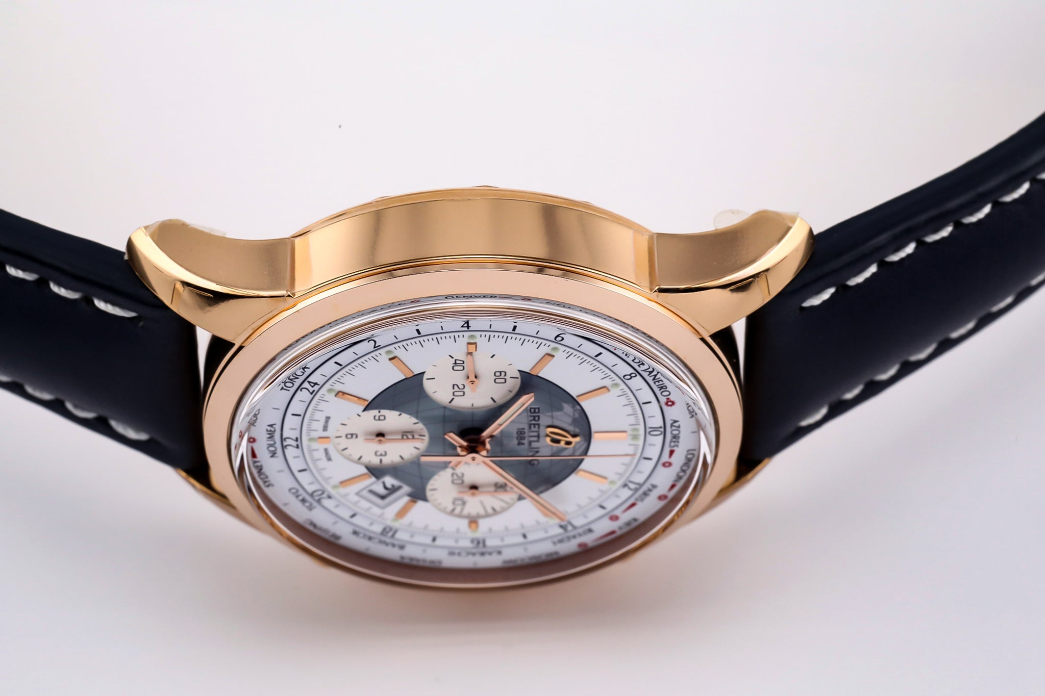 Breitling Transocean Chronograph Unitime 18kt Gold Silver