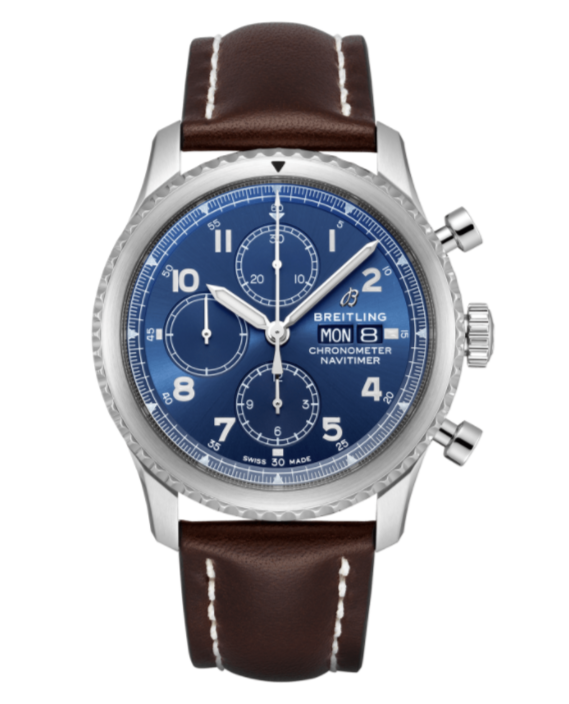 Breitling Navitimer 8 Chronograph 43 Blue Dial with Brown Leather Strap