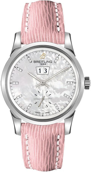 Breitling Transocean 38 Stainless Steel Mother of Pearl White Dial - The Luxury Well