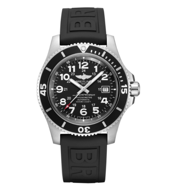 Breitling Superocean II 44 Black Steel Dial with Black Diver Pro 3 Strap with Tang Buckle