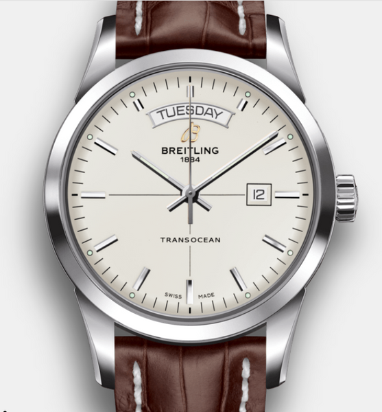 Breitling Transocean Day & Date Steel Silver 43mm Dial