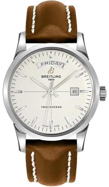 Breitling Transocean Day & Date Steel Silver 43mm Dial - The Luxury Well