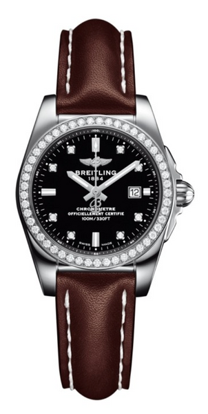 Breitling Galactic Steel Black Diamond Brown Leather Strap 29mm Dial - The Luxury Well