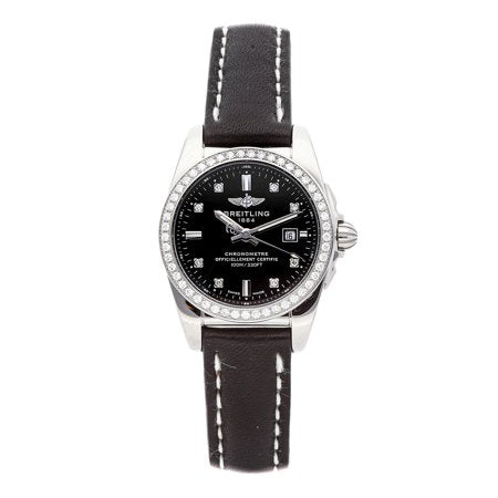 Breitling Galactic Steel Black Diamond 29mm Black Leather Strap Dial - The Luxury Well