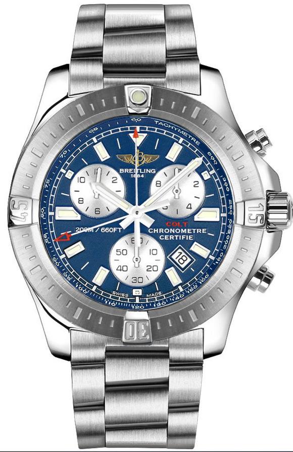 Breitling Colt Chronograph Stainless Steel Mariner Blue Dial - The Luxury Well