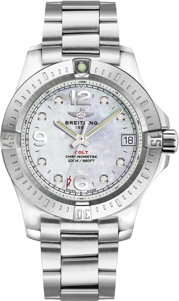 Breitling Colt 36 Mother of Pearl Diamond Dial - The Luxury Well