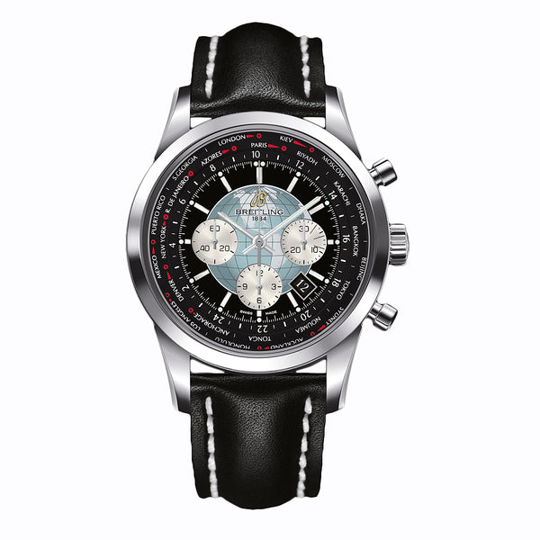 Breitling Transocean Chronograph Unitime Stainless Steel Black 46mm - The Luxury Well