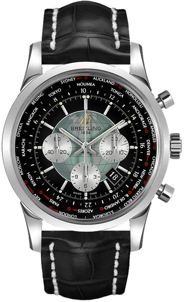 Breitling Transocean Chronograph Stainless Steel Black 46mm - The Luxury Well