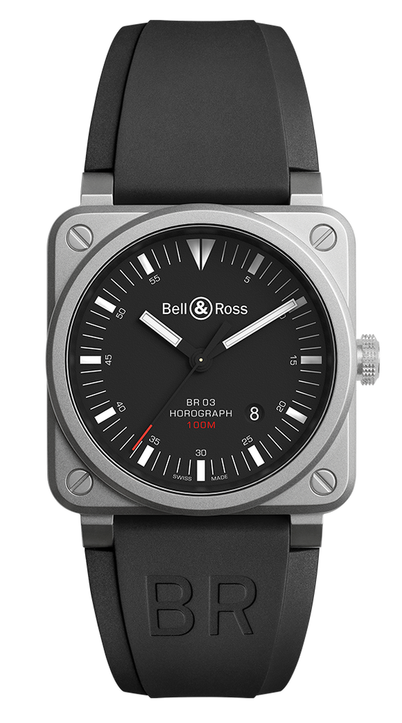 Bell & Ross BR03-92 HOROGRAPH Bead Blasted Steel Case - The Luxury Well