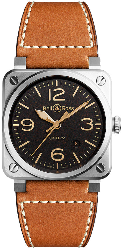 Bell & Ross Steel Golden Heritage Black 42mm Dial - The Luxury Well